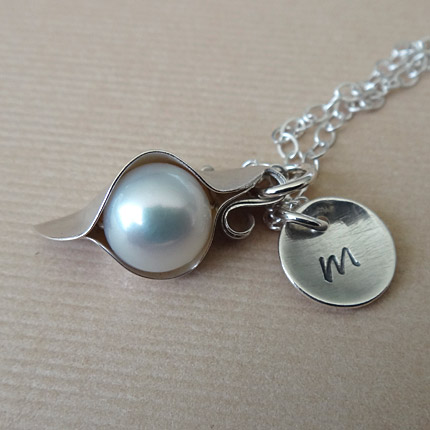 Sterling Silver Peapod Necklace With Monogram Tag